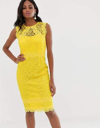 Paper Dolls lace midi dress with crochet trim in lemon