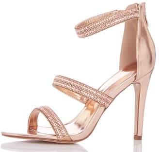 Quiz Rose Gold Diamante Triple Strap Heeled Sandals