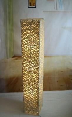 "World Menagerie Amand Rectangle Bamboo Woven 52"" LED Column Floor Lamp World Menagerie"