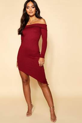 boohoo Petite Jumbo Rib Off The Shoulder Curve Hem Midi Dress