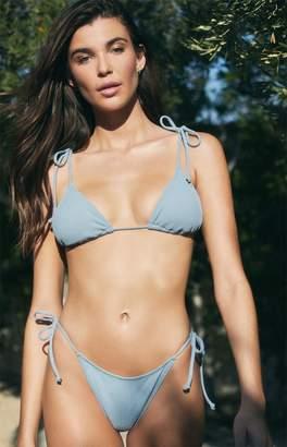 La Hearts Blue Playa Tied Up Triangle Bikini Top
