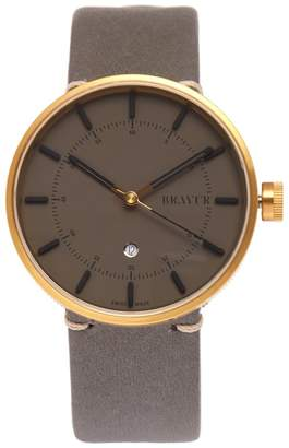 BRAVUR BW002 stainless-steel and leather watch
