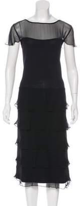 St. John Sheer-Accented Knit Dress Black Sheer-Accented Knit Dress