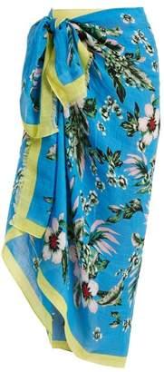 Diane von Furstenberg Bolan Linen Blend Sarong - Womens - Blue Print