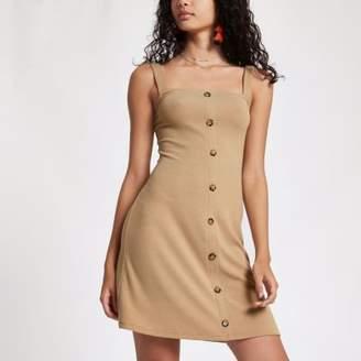 River Island Womens Beige button front rib mini dress
