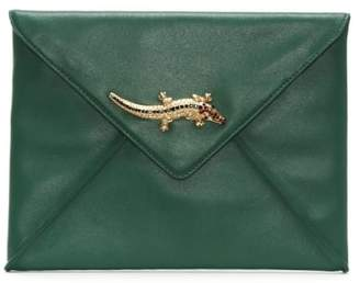 Class Roberto Cavalli Mademoiselle Green Leather Envelope Clutch Bag