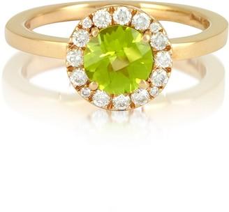 Forzieri 0.22 ct Diamond Pave 18K Gold Ring w/Green Peridot