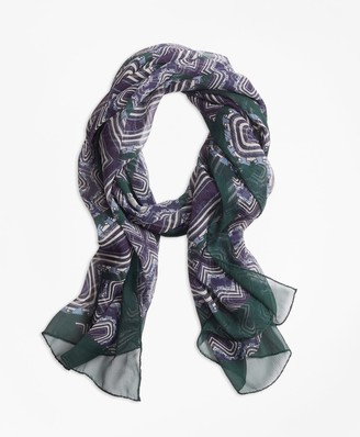 Brooks Brothers Geometric-Print Silk Chiffon Oblong Scarf