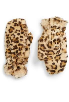 Leith Leopard Print Faux Fur Mittens