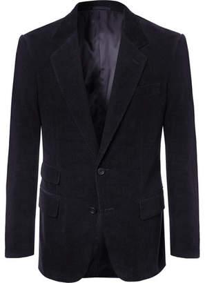 Kingsman Midnight-Blue Stretch-Cotton And Cashmere-Blend Corduroy Suit Jacket