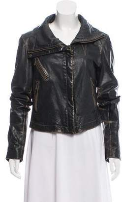Andrew Marc Distressed Leather Jacket