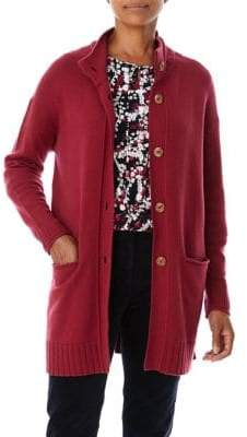 Olsen Button-Front Long Cardigan