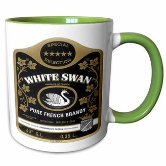 3dRose Vintage White Swan Pure French Brandy Label - Two Tone Green Mug, 11-ounce