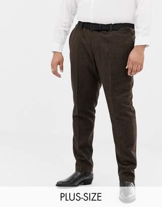 Gianni Feraud Plus slim fit brown donnegal wool blend suit pants