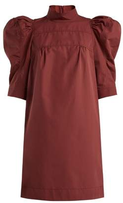 Chloé Puff Sleeve Cotton Poplin Dress - Womens - Brown