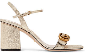 Gucci Marmont Logo-embellished Metallic Cracked-leather Sandals - Gold