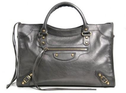 Balenciaga pristine (PR Pewter Leather Giant City Arena Satchel Bag