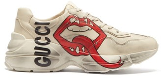 Gucci Rhyton Mouth And Logo Print Leather Trainers - Womens - Ivory