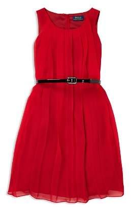 Ralph Lauren Girls' Pleated Chiffon Dress with Belt - Big Kid