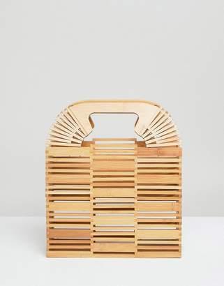 Asos DESIGN bamboo square boxy clutch bag