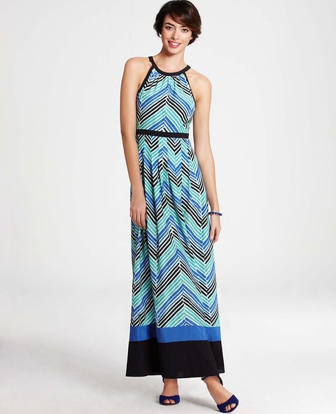 Ann Taylor Painted Herringbone Maxi Dress