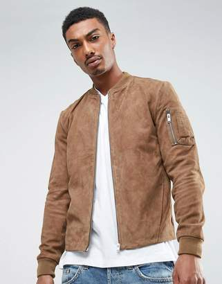 Selected Suede Bomber Jacket