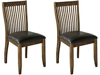 Signature Design by Ashley Ashley Furniture Signature Design - Stuman Dining Side Chair - Comb Back - Set of 2 - Brown Base and Black Upolstered Seat