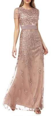 JS Collections Floral Mesh Gown