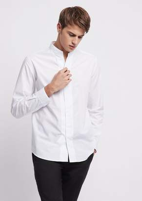 Emporio Armani Slim-Fit Shirt In Wave Jacquard Fabric With Guru Collar