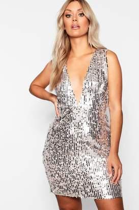 boohoo Plus Plunge Sequin Bodycon Dress