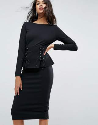 Asos Design Midi Dress with Corset Peplum Detail