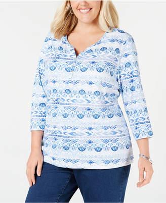 Karen Scott Plus Size Printed 3/4-Sleeve Henley Top