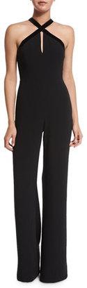 Alexis Molly Velvet-Trim Wide-Leg Jumpsuit, Black $693 thestylecure.com