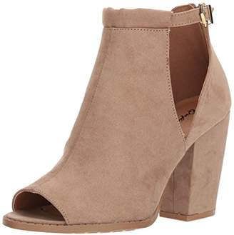 Qupid Women's Peep Toe Bootie with Open Side Panel Heeled Sandal