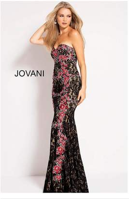 Jovani Strapless Lace Gown