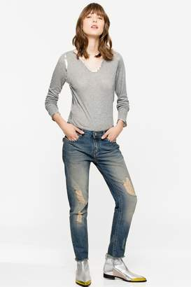Zadig & Voltaire Long sleeved foil henley t-shirt