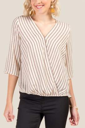 francesca's Sarah Striped Surplus Blouse - Taupe