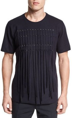 Lanvin Lacing-Front Short-Sleeve Tee, Navy $1,190 thestylecure.com