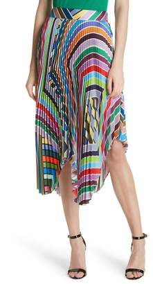 Milly Stripe Pleated Handkerchief Skirt