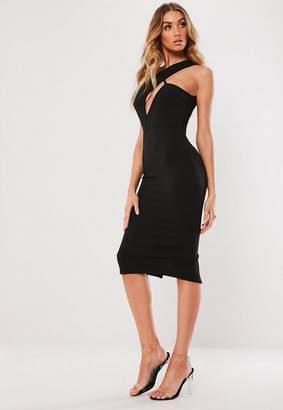 Missguided Black One Shoulder Midi Dress
