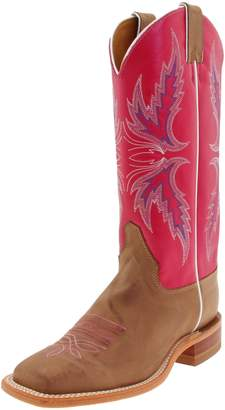 """Justin Boots Women's U.S.A. Bent Rail Collection 13"""" Boot Wide Square Double Stitch Toe Leather Outsole,Tan Vintage Cow/Dark Pink Classic"""