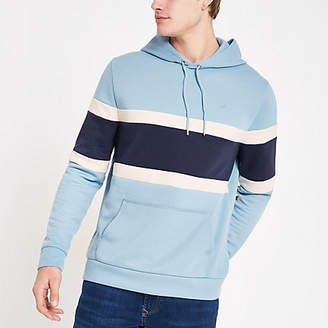 River Island Light blue slim fit color block hoodie