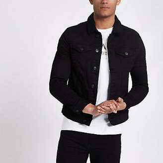River Island Black muscle fit denim jacket