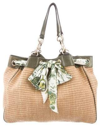 Gucci Snakeskin-Trimmed Positano Scarf Tote