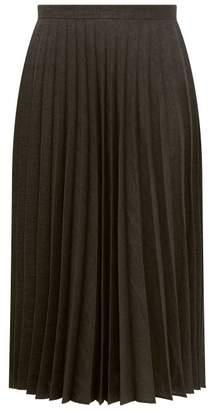 Margaret Howell Prince Of Wales Check Linen Blend Skirt - Womens - Dark Grey