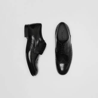 Brogue Detail Leather Derby Shoes