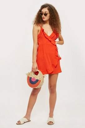 Topshop Wrap frill mini dress