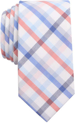 Bar III Men's Coral Blue Check Slim Tie, Only at Macy's $55 thestylecure.com