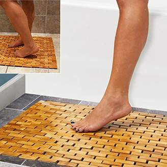 "Camilla And Marc Luxury Multipurpose Bamboo Bath Mat For Shower Spa Sauna with Non Slip Feet | Indoor Outdoor Use for Kitchen Bedroom Bathroom Toilet Doormat Pet Mat | 60 x 40 cm (23.6 x 16"")"