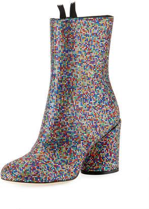 Marco De Vincenzo Multicolor Crystal Zip Booties